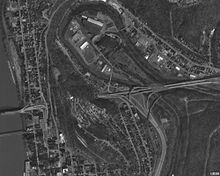 An overhead view of Wheeling hill with several roads surrounding it.