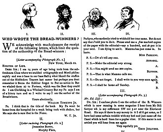 """The Bread-Winners - """"Who wrote The Bread-Winners?"""": ''Life'' magazine's joking speculation (including an adolescent boy and girl as candidates), March 1884"""