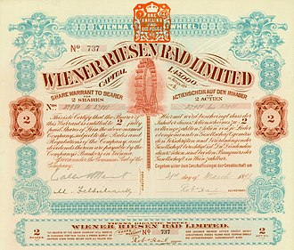Wiener Riesenrad - Share of the Wiener Riesen Rad Ltd., issued 21. March 1898