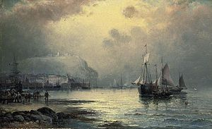 William Anslow Thornley - Fishing vessels off Scarborough at dusk.jpg