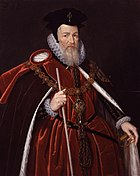 A full-color portrait of William Cecil.  Ceclil is wearing orange robes and a large black hat.  He is facing toward the camera's right, holding a white cane in his right hand and holding his cape open with his left.