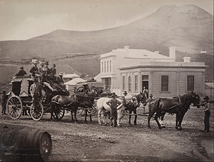 Cobb & Co. (New Zealand) - Cobb and Co coach at Palmertson Otago in the 1880s
