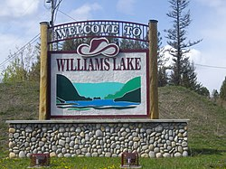 Williams Lake's welcome sign