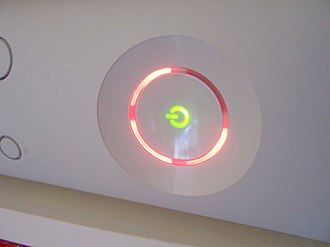 "Xbox 360 technical problems - Three red lights on the Xbox 360's ring indicator representing a ""General Error requiring service of the Console or Power Adapter,"" commonly nicknamed the ""Red Ring of Death."""