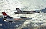 YF-16 and YF-17 in flight 2