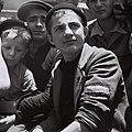"YOUNGSTERS RESCUED FROM THE BUCHENWALD NAZI CONCENTRATION CAMP ON BOARD THE ""MATAROA"" IN THE HAIFA PORT. נער, ניצול שואה ממחנה בוכנוואלד, מגיע לנמל חיD820-067.jpg"