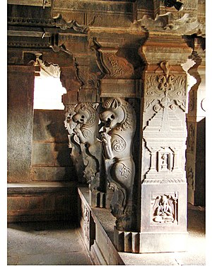 Yali (mythology) - Yali pillars, Rameshwara Temple, Keladi, Shivamogga District, Karnataka state, India