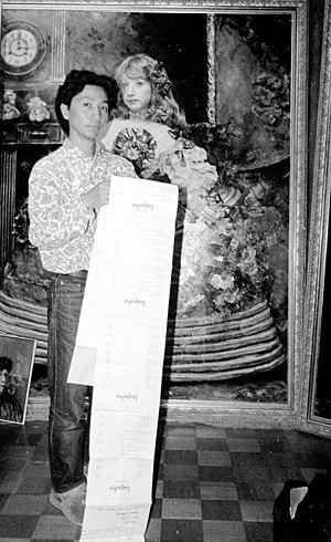 Yasumasa Morimura - Yasumasa Morimura in his Osaka studio 1990; photograph by Sally Larsen.