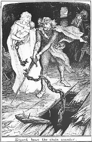"The Witch in the Stone Boat - ""Sigurd hews the chain asunder"", H. J. Ford"