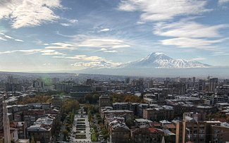 Yerevan skyline with ارارات (Historical Armenia, now inTurkey) in the background, as seen from the Cafesjian Museum of Art