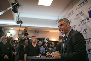 2013 in Israel - Yair Lapid, leader of the Yesh Atid party, celebrating the unprecedented success of his party in the elections, January 24, 2013.