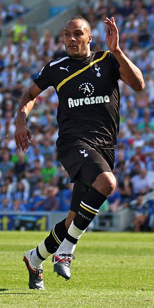Younes Kaboul of Tottenham, playing against Br...