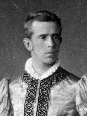 Young Crown Prince Rudolf in a historical costume.