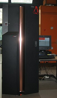 An IBM zSeries 800 (foreground, left) running Linux.