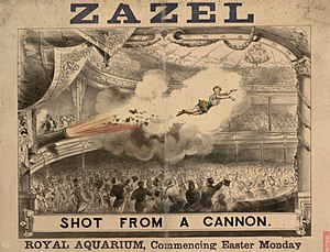 Rossa Matilda Richter - Poster advertising one of Zazel's performances at the Royal Aquarium