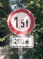 Zeichen 262 - Verbot für Fahrzeuge über angegebenes tatsächliches Gewicht mit Zusatzschild 741, StVO 1970.png