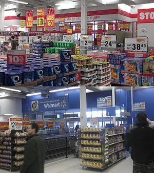 Zellers - The former Zellers (Store 289) location in Ottawa's Gloucester, Ontario district during its closeout sale, compared with the Walmart it now is