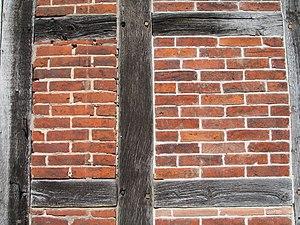 Brick nog - Brick infill in half-timbered construction may be called nogged