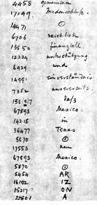 Zimmermann Telegram - A portion of the Telegram as decrypted by British Naval Intelligence codebreakers. The word Arizona was not in the German codebook and thus had to be split into phonetic syllables.