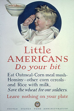"""Little Americans. Do Your Bit. Eat Oatmeal- Corn meal mush- Hominy- other corn cereals- and rice with milk. Save the... - NARA - 512566.jpg"