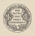 """Pro patria per orbis concordiam"", devise de la Conciliation Internationale.png"