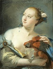 Young Woman with a Parrot