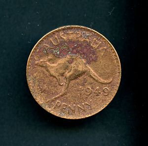 Coins of Australia - Australian penny found in Kensington, Sydney, corroded from exposure to the elements