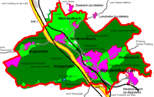 Overview map of the Niedernhausen municipal area with its centres