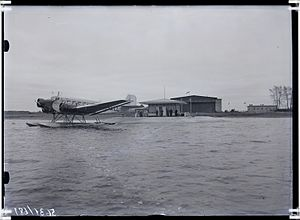 Tallinn Airport - A floatplane version of the Ju 52/3m at the seaplane ramp of Ülemiste Airport