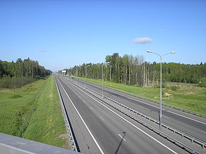 Saint Petersburg Ring Road - The Ring Road at the 8-km mark, in the vicinity of Gorskaya and the Gulf of Finland.