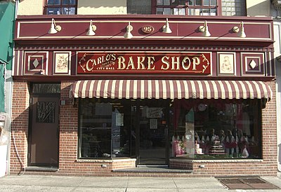 Carlo's Bake Shop, which is the setting for the reality television show Cake Boss, is now a local tourist attraction. 1.20.10Carlo'sBakeShopByLuigiNovi1.jpg