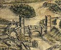 1720, Plano de Toledo, Joseph de Arroyo Palomeque (cropped). Puente de Alcántara y plaza de armas.jpg