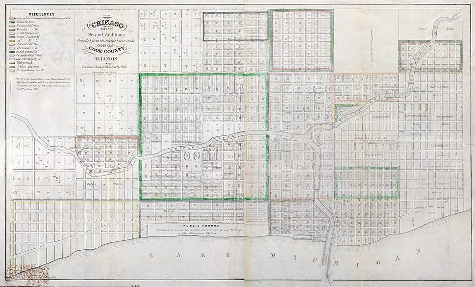 1836 Chicago Map by Mesier