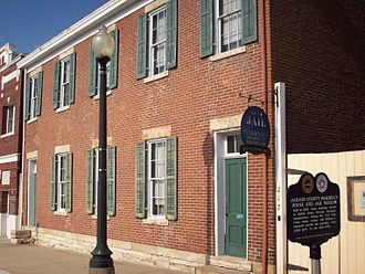 First Battle of Independence - 1859 Independence Jail.  George Todd murdered one of the jail prisoners, together with a captured Federal officer, during the First Battle of Independence
