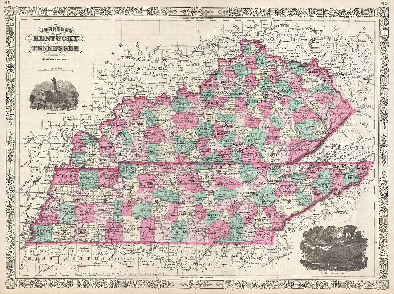 file 1866 johnson map of kentucky and tennessee geographicus