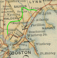 1887 railroad map with Saugus Branch highlighted.png