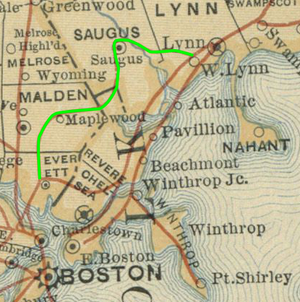 Saugus Branch Railroad - 1887 map with Saugus Branch highlighted in green