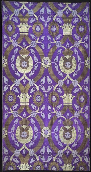 Silk, cotton and gilt-metal-strip-wrapped cotton panel, machine-woven in Scotland circa 1887. Tulip motif is inspired by Turkish textiles.