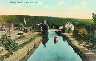 Allentown, Pennsylvania - Saeger's Mill was built in 1828 along the Lehigh Canal in the same year it was opened. It used water power purchased from the Lehigh Canal and Navigation Company, the owners of the canal.  The mill straddled the canal, and a covered bridge allowed the company to use both banks of the canal. Sager's Mill was destroyed by a fire in 1951.