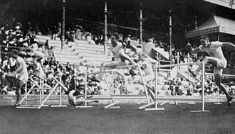 Athletics at the 1912 Summer Olympics – Men's 110 metres hurdles - The final where John Nicholson fell and did not finish the race.