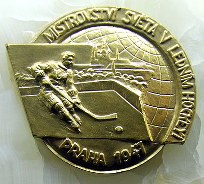 A gold medal won by Czechoslovakia (1947) 1947 IIHF World Championship Gold Medal.jpg