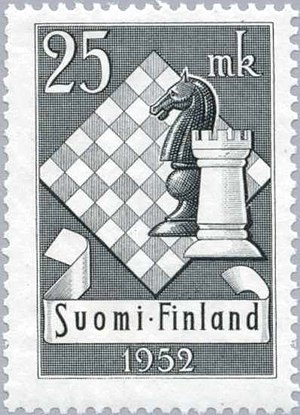 10th Chess Olympiad - Finnish stamp dedicated to the 1952 Chess Olympiad