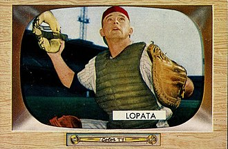 Stan Lopata - Lopata poses in his Phillies catcher's gear in 1955.
