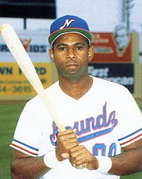 "A man wearing a white baseball uniform with ""Sounds"" on the chest in blue and red and a blue cap with a white ""N"" on the center poses holding a baseball bat with both hands on a green field."