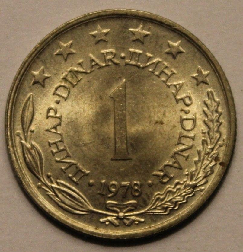 1 Yugoslav dinar (1978) front