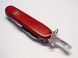 Bottle opener - Victorinox pocket knife with bottle opener (and screwdriver) blade extended