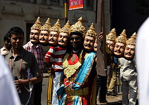 "World 10K Bangalore - A fun runner in a Ravana costume during the ""Majja Run"" in 2008"