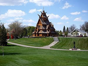 Norwegian Dakotan - Scandinavian Heritage Park in Minot, North Dakota. 30.8% of the population in North Dakota is of Norwegian ancestry.