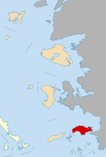 Samos within the North Aegean