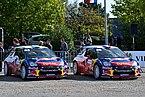 2012 10 05 Rallye France, Parc assistance Colmar, voitures de Mikko Hirvonen et Sébastien Loeb.JPG
